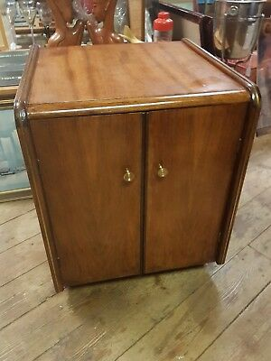 Art Deco Vintage Record Cabinet Walnut Veneer on Castors 27 inch rare