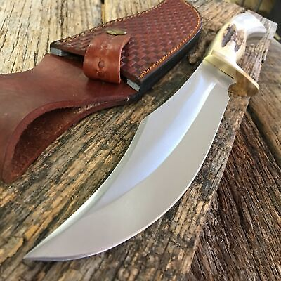 GENUINE STAG BONE Steel Wolf Bowie Hunting Knife Leather Sheath Tactical 203320