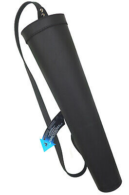 NEW TRADITIONAL FINE BLACK MILD LEATHER BACK ARROW QUIVER ARCHERY PRODUCT AQ163P