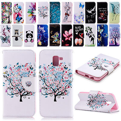 Pattern Leather Magnetic Flip Stand Slim Case Cover For Samsung J4/J6/A6/A8 2018