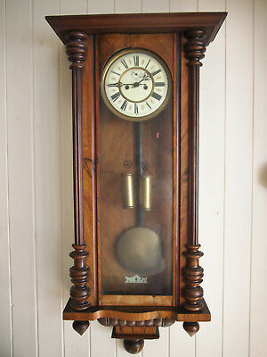 Pre 1900 Antique Vienna Double Weighted Wall Clock In Walnut