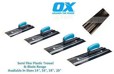 "OX Semi Flex Plastic Plasterers Plastering Finishing Trowel or Blade 14"" - 20"""