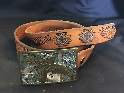 Old Vtg Brass Eagle  Southwestern Abalone Shell Inlay Belt Buckle With Belt