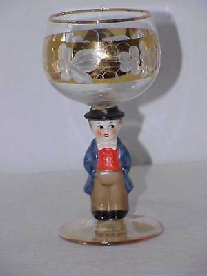 German GOEBEL Crystal Wine Glass w/Gold Trim - Man in Suit - Free Ship