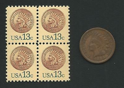 Key Date 1877 Indian Head Penny Cent Coin Midget US Stamp Block MINT CONDITION!