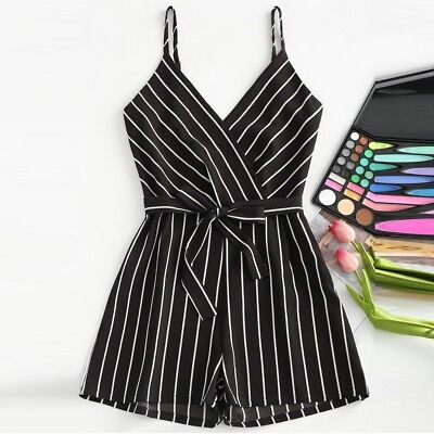 Womens Sleeveless Strappy Short Playsuits Striped Cami Belt Romper Jumpsuit New