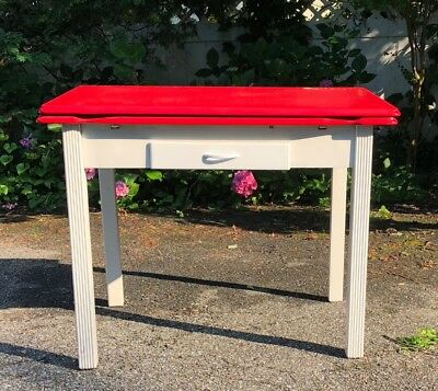 Vintage Porcelain Enamel Kitchen Table with red top and pull out leaves
