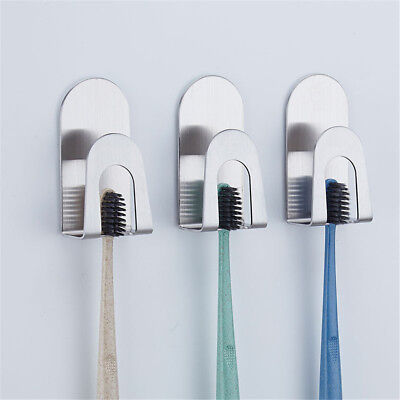 Stainless Steel Sticker Toothbrush Holder Bathroom Toothpaste Storage Hanger