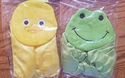 New Reusable Duck And Frog Bath or Shower Cap For Kids Terry Cloth & Satin