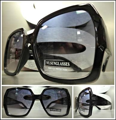 ade291d467c1 OVERSIZED EXAGGERATED VINTAGE RETRO Style SUN GLASSES Large Square Black  Frame