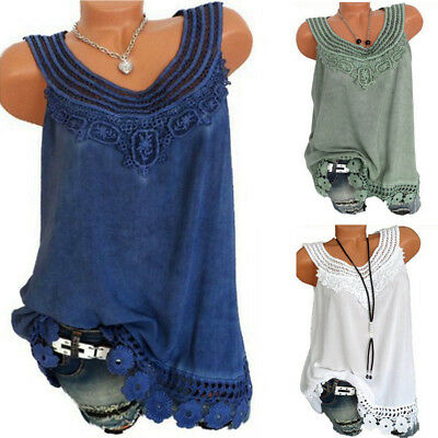 5caeec770a90dc Plus Women Summer Lace Vest Top Sleeveless Blouse Casual Tank Tops Loose T- Shirt
