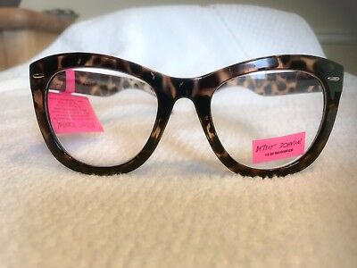 af7194cdca Betsey Johnson Reading Glasses Animal Tortoise Thick Frame Readers +2.00 NEW