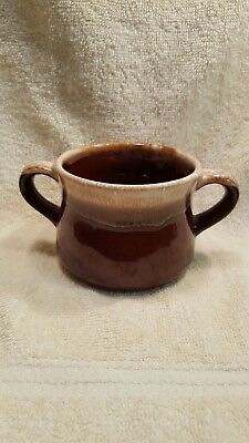 McCOY USA BROWN DRIP GLAZED STONEWARE SOUP/CHILI BOWL/MUG TWO HANDLES