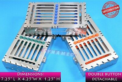 3pcs SET STERILIZING CASSETTE TRAYS FOR 7 INSTRUMENTS DENTAL PREMIUM DETACHABLE
