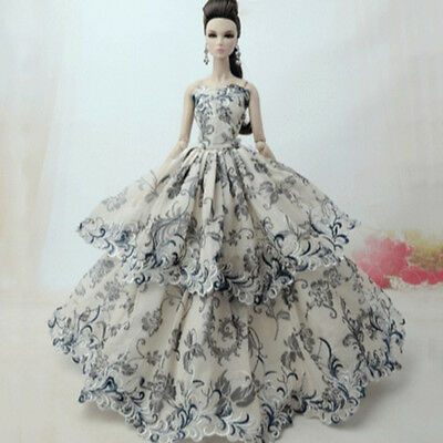Princess Party Evening Gown Handmade Doll Clothes Wedding Dress For Barbie Dolls