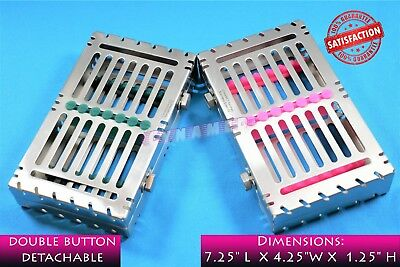 Lot Of 2 German Detachable Sterilizing Cassette Trays Holds 7 Instruments