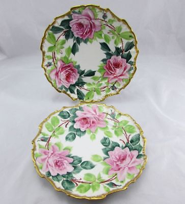 Antique Pair of A Schmidt & Son Hand Painted Rose Plates 9.75""
