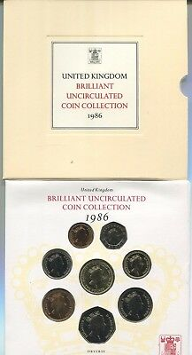 1986 United Kingdom Brilliant Uncirculated Coin Collection 8 coins  OGP & COA #2