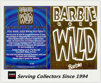 "1996 Tempo 36 Years Of Barbie ""Barbie Goes Wild"" SAMPLE Redemption card (1)-Rare"