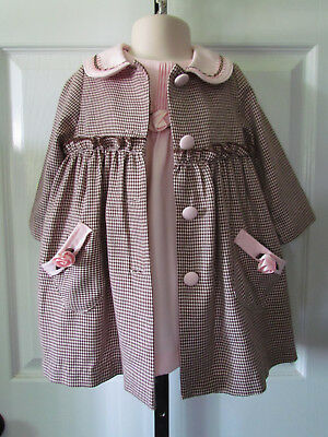 Vintage Little Bitty Brown Pink 2 Piece Toddler Girl Dress Coat Size 18 Months