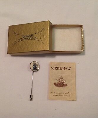 Vintage Handcrafted Scrimshaw Tall Ship Stick Pin Silver Tone Hat w Paper & Box