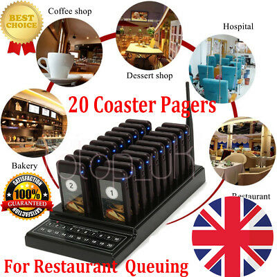 Wireless Paging Calling System 20 Restaurant Coaster Pager Queuing System 10mA