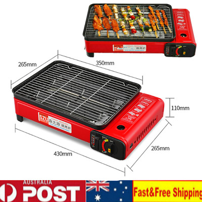 Portable Gas Stove Burner Butane BBQ Camping Gas Cooker With Non Stick Plate Red