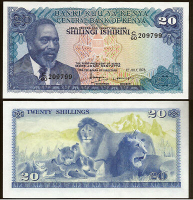 Kenya 1978 20 Shillings Family of Lions Lovely Uncirculated Note UNC