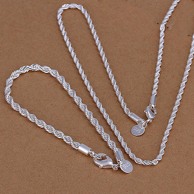 925 silver 4mm twisted rope chain 16-24inch bracelet Or neckalce