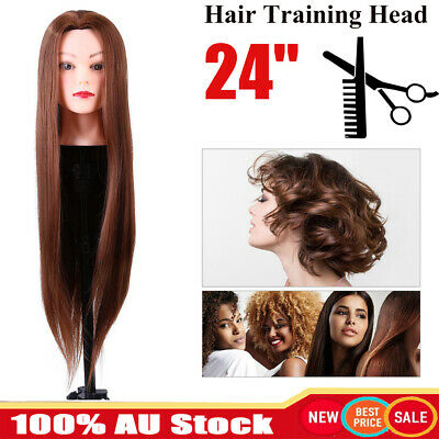 24'' Salon Long Hair Styling Hairdressing Practice Doll Head Training Mannequin