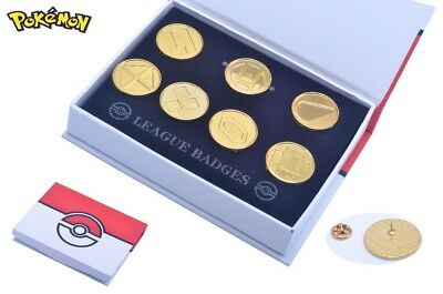 7pcs Pokemon GO Battle Frontier Symbols Badge Pins Brooches in Box