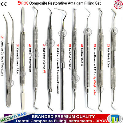 Dental Composite Placement Amalgam Plastic Filling Restorative Instruments 9PCS