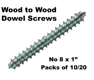 "No 8 x 1"" Wood To Wood Dowel Screws Zink Double Ended 25mm Pack of 10 or 20"