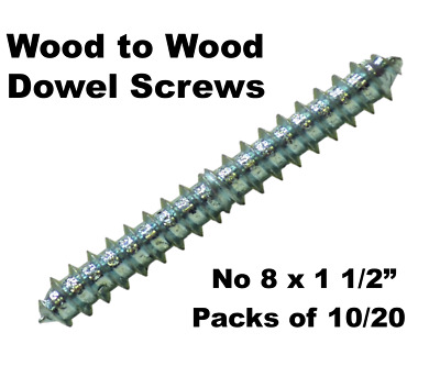 "No 8 x 1 1/2"" Wood To Wood Dowel Screws Zink Double Ended 38mm Pack of 10 or 20"