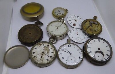 Job Lot of Gent's Antique Pocket Watches / Holder / Miles Suprex - Inc. Silver
