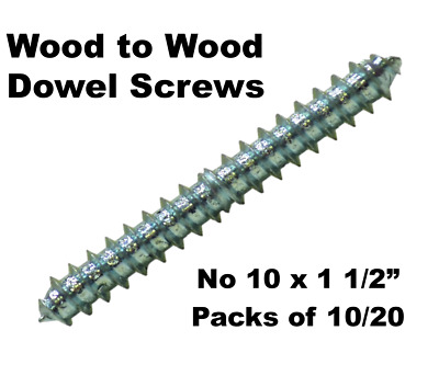 "No 10 x 1 1/2"" Wood To Wood Dowel Screws Zink Double Ended 38mm Pack of 10 or 20"
