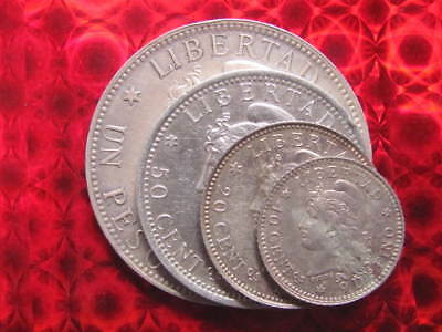Group of 1882 Argentina Silver Coins, Peso, 50, 20, 10 centavos