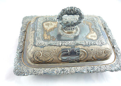 Vegetable Dish Entree  Soup Bowl Antique Victorian Shieffield Silver Plated