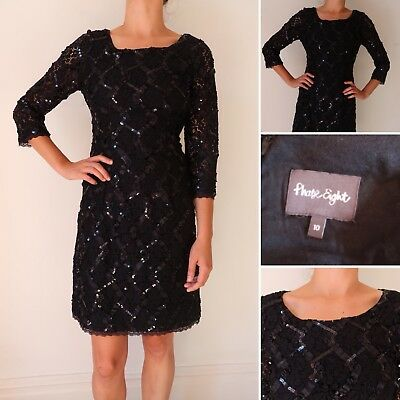 151fa32a Black Sequin Dress Size 10 PHASE EIGHT Gatsby Ribbon Lace Scoop Neck 3/4  SleeveC