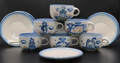 M A Hadley The End * 6 CUPS & 5 SAUCERS * Cow, Pig, House, Farmer, Wife, Child
