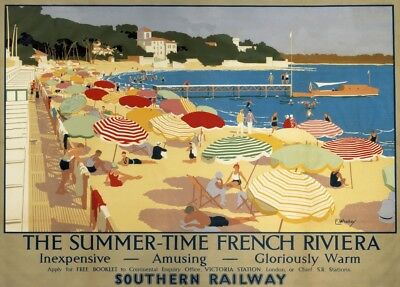 FRENCH RIVIERA FOR SUMMER TIME, SOUTHERN RAILWAY, French Travel Poster 250gsm