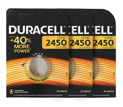 3 x Duracell CR2450 DL2450 3V Lithium Coin Cell Battery Long Lasting