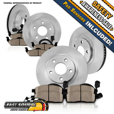 Front+Rear Solid Disc Brake Rotors & Ceramic Pads 2012 - 2016 Audi A6 Quattro