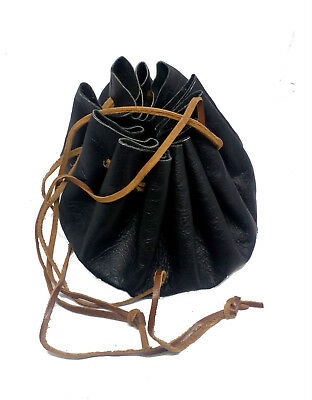 LARP Black Round Leather Draw String Money/Dice Pouch Bag Reenactment REDUCED