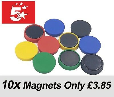 WHITEBOARD MAGNETS FRIDGE MAGNETS DISPLAY BOARD NOTICE BOARD 30mm PACK OF 10