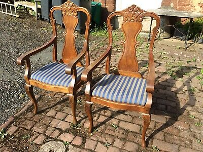 Pair Of Good Antique Carver Chairs Armchairs Captians Chairs French Style
