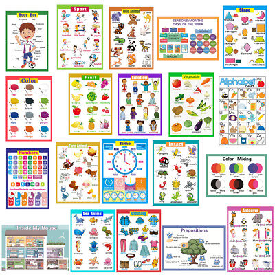 First Word Learn Childrens Revision Poster Wall Chart Kids Early Learning