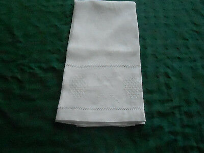 Antique White Damask Towel With Wonderful Drawn Thread Embroidery, Vintage 1920