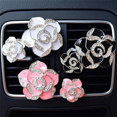 2x Car Perfume Colorful Flowers Bling Diamond Car Air Freshener Clip Decor WQZY