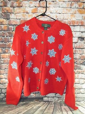 Vintage Orvis Ugly Christmas Sweater Red W Blue Snowflakes Button